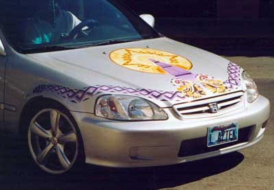 Yermo Aranda's art on hood of a car